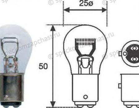 Лампа фонаря заднего (двухконтактная) (P21/4W) BAZ15d на Фиат Дукато - 14145490